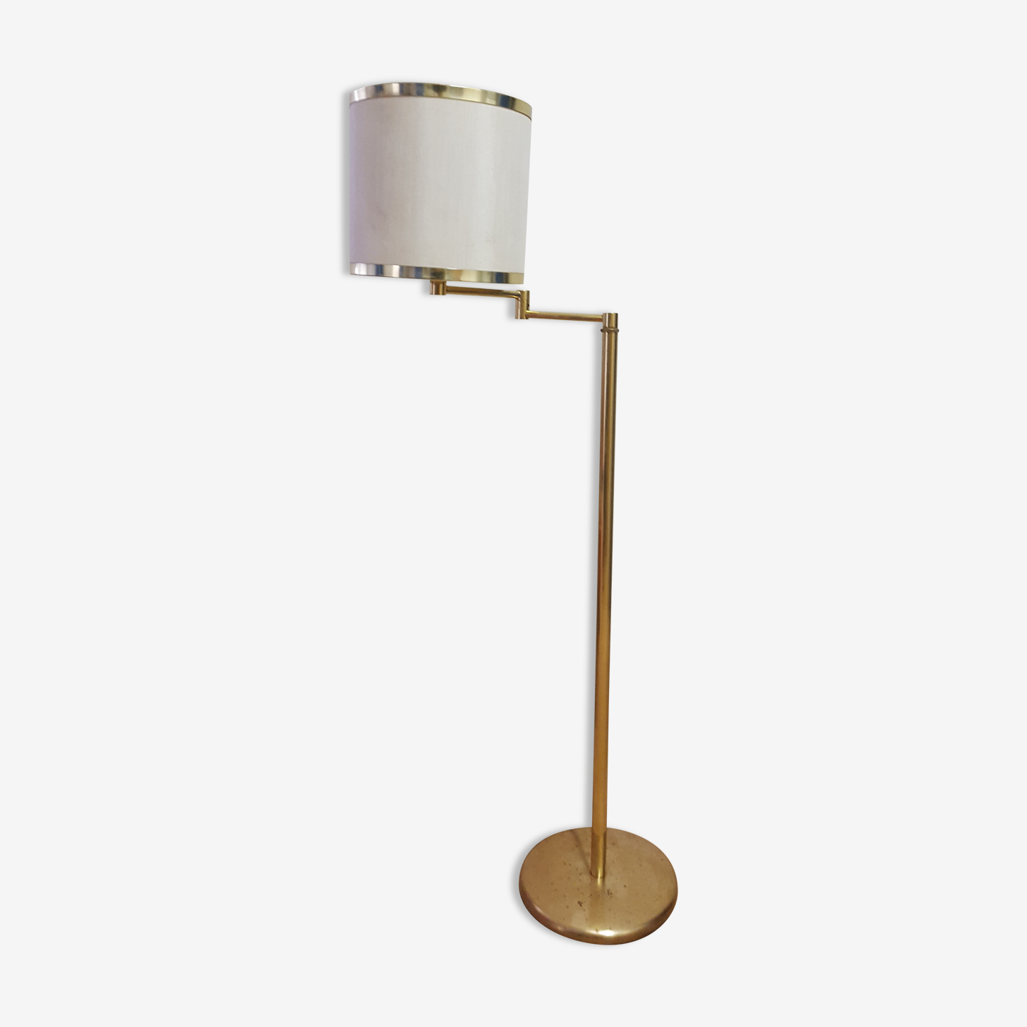 Floor lamp metal golden with articulated arm