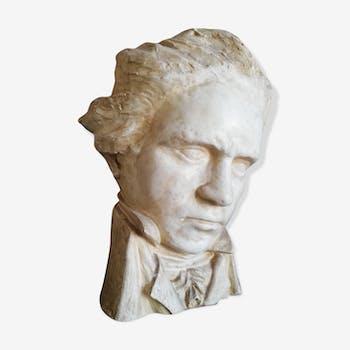Buste en plâtre de Beethoven signé Limousin XXéme