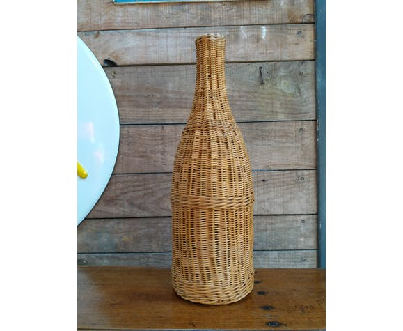 Large bottle glass and wicker
