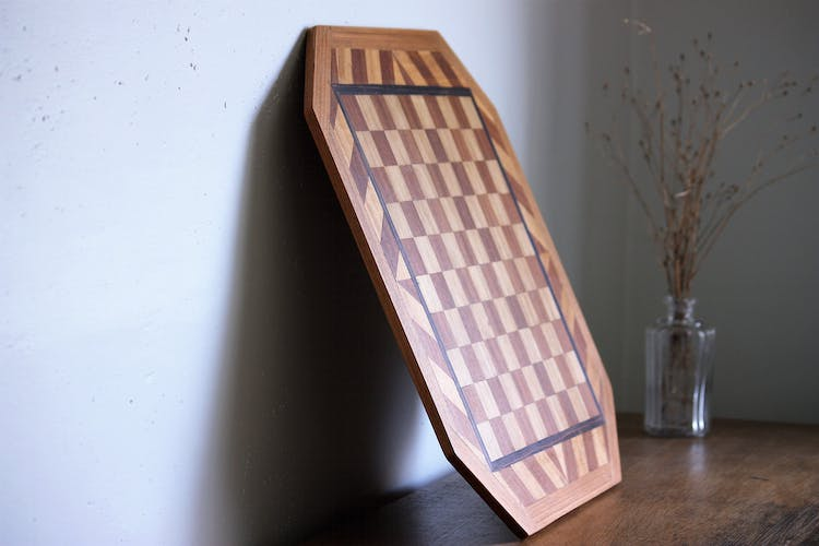 Marked wooden chess board