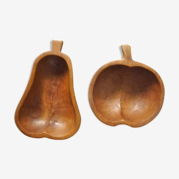 Lot of 2 cups shaped fruits teak of the 1970s
