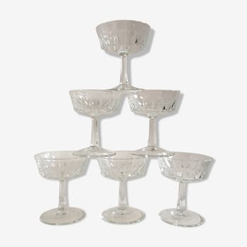 Lot de 6 verres à vin art deco