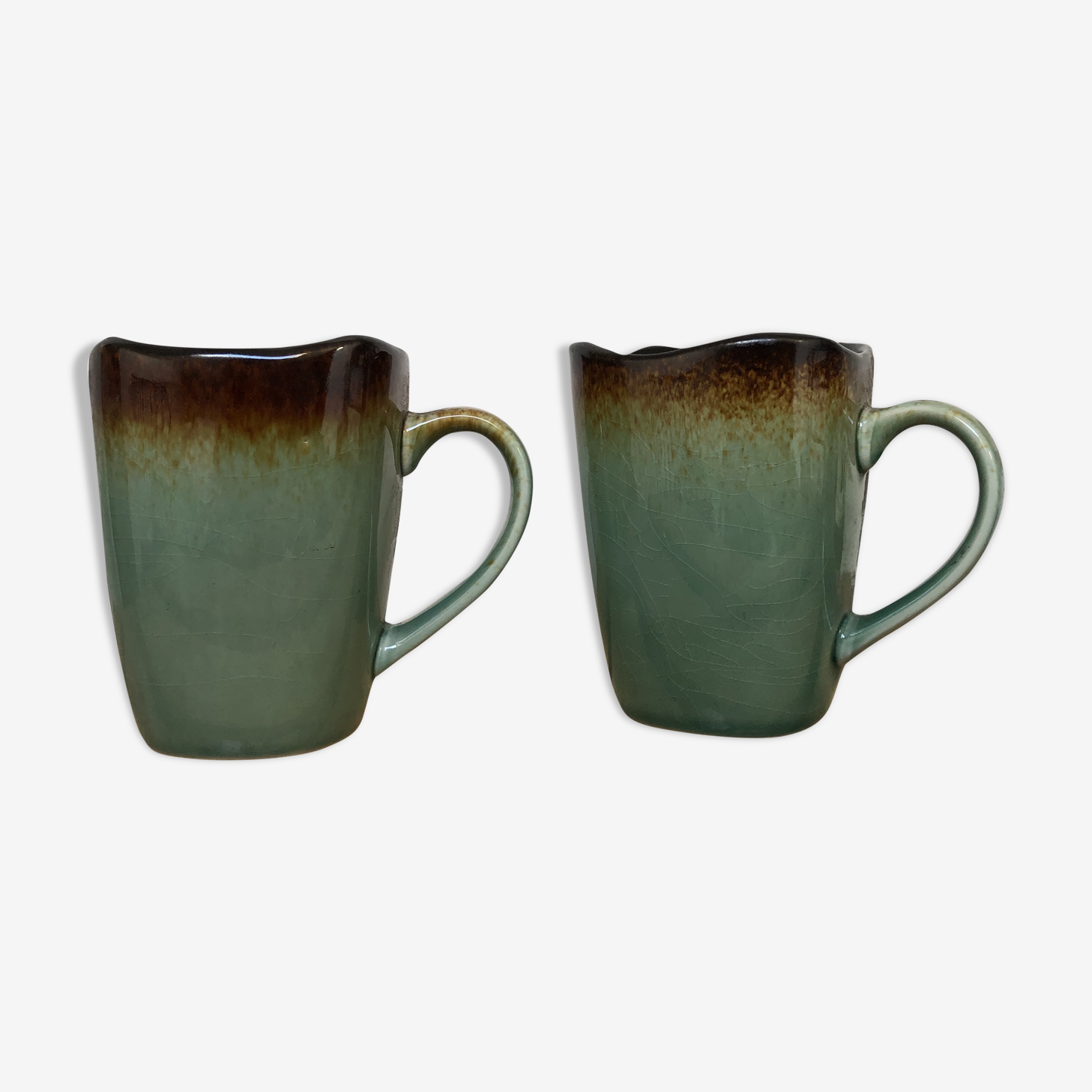 Duo of mugs-blue,green stoneware Lina
