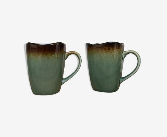 Duo of mugs-blue,green stoneware Lina