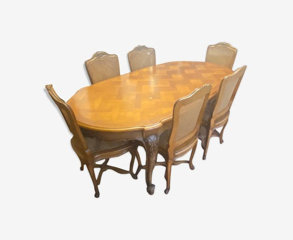 Louis Xv Cherry Wood Dining Table 6 Chairs Selency