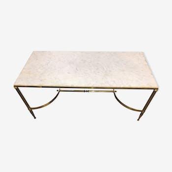 Table basse marbre blanc et laiton doré vintage