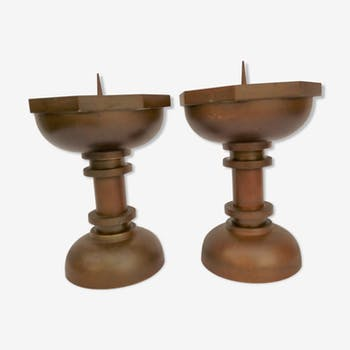 Pair of art deco bronze candle spikes
