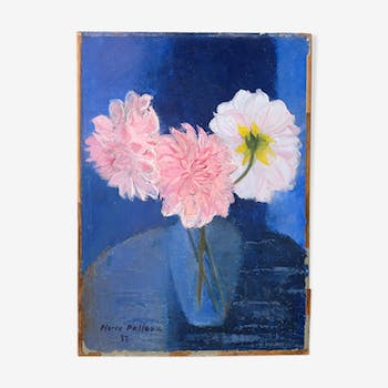 Old paint by Pierre Pelloux (1903-1975) - bunch of Dahlia