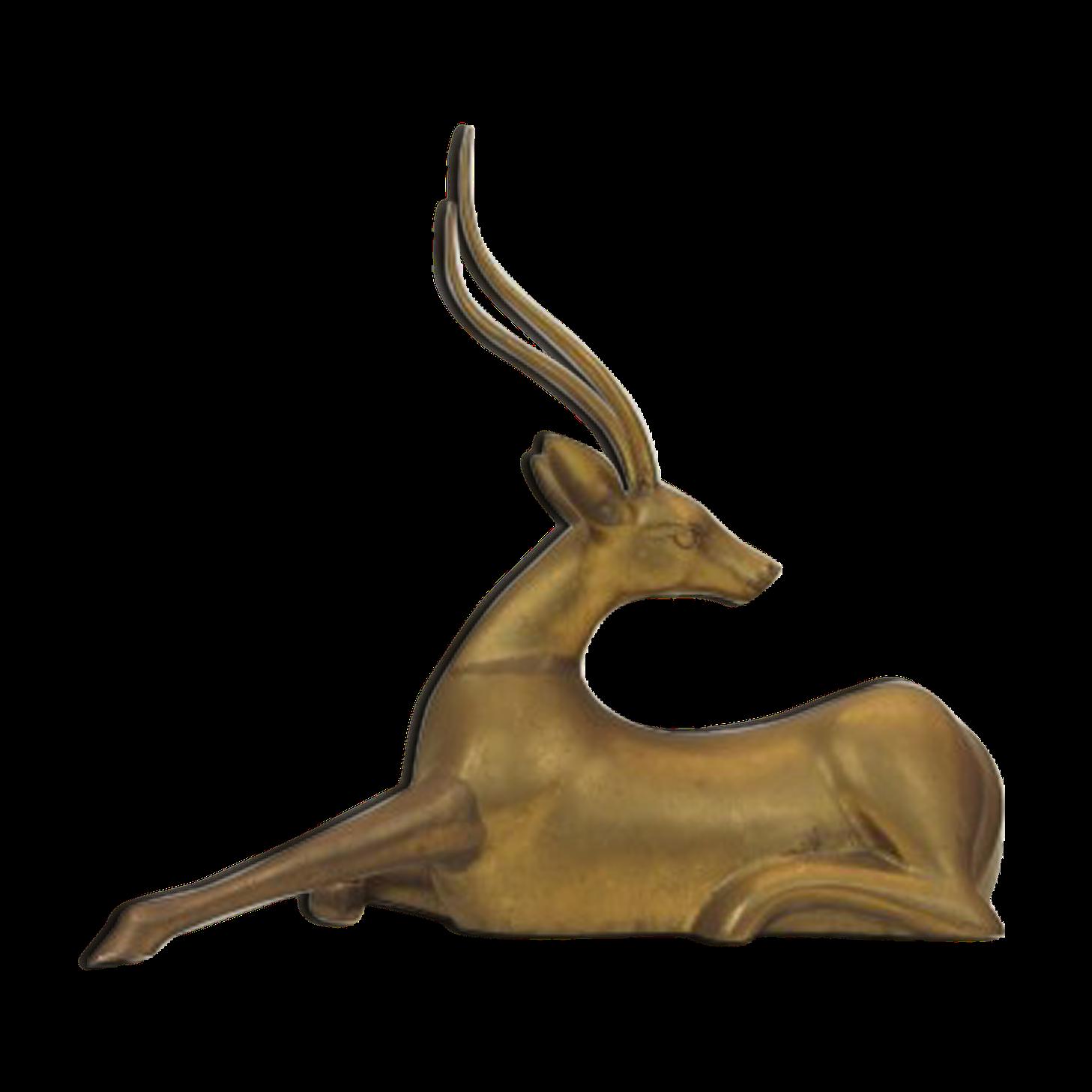 Sculpture en laiton d'une antilope