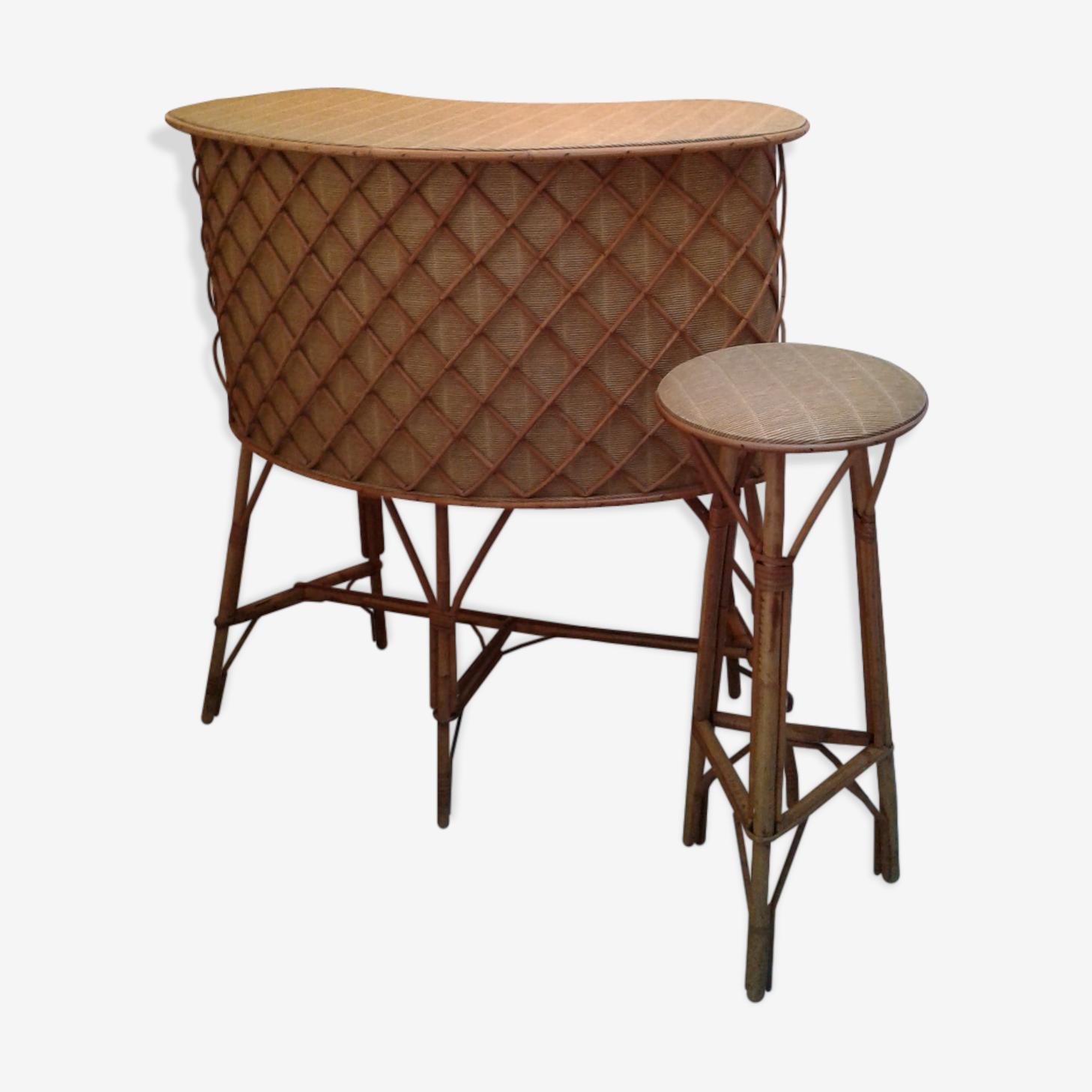 Bar and his stool 60s rattan