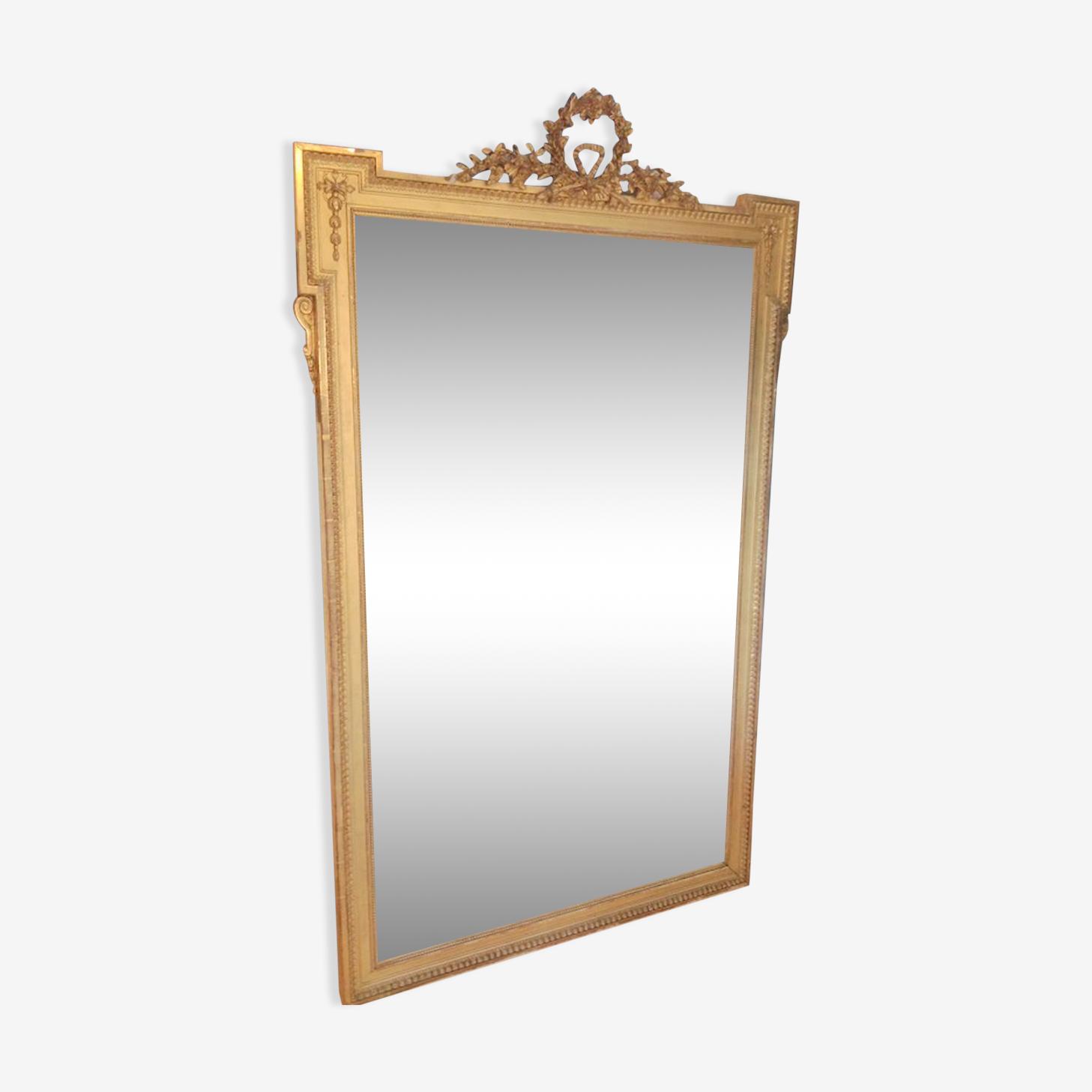 Miroir 190x90 cm cadre en bois doré style Louis XVI