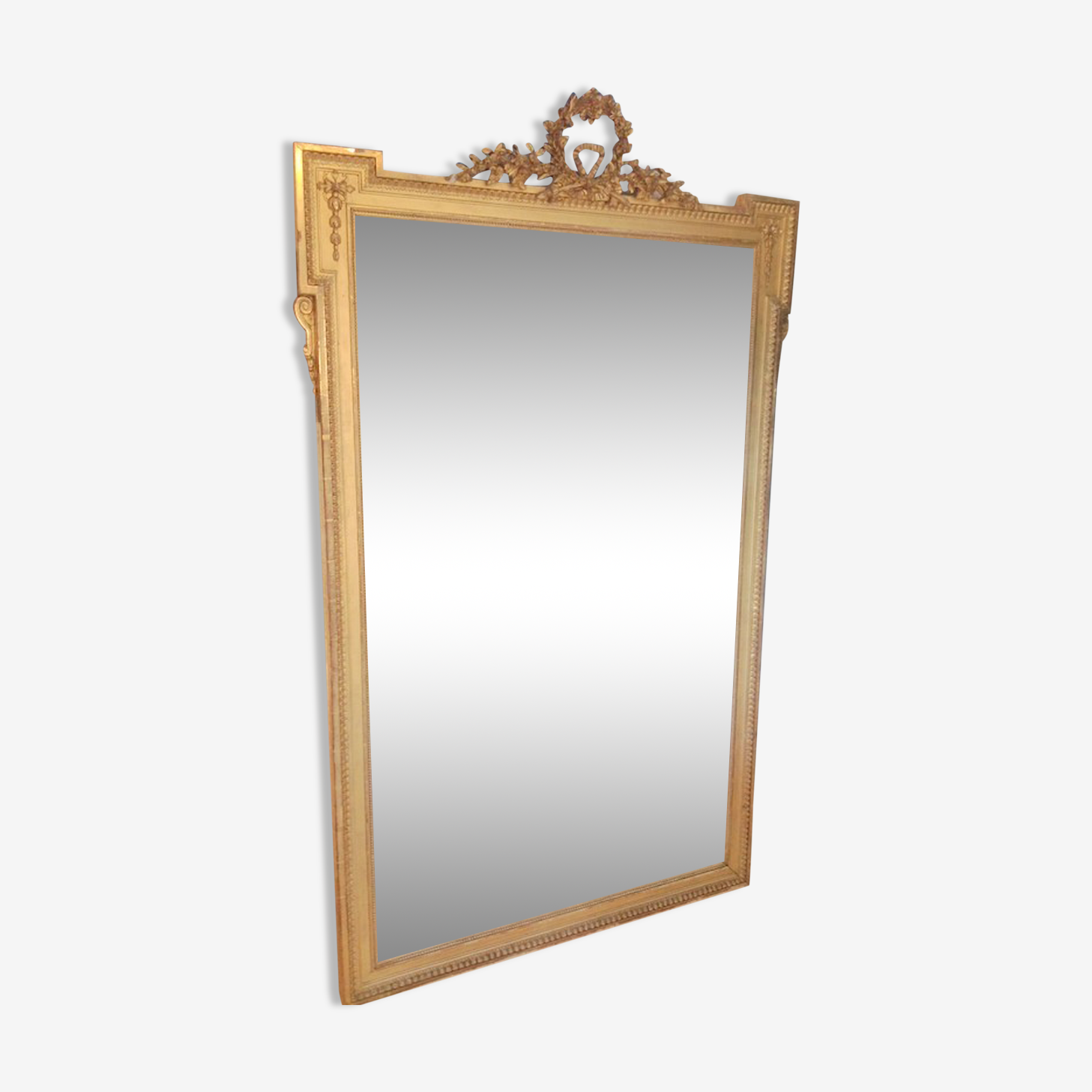 Large mirror 190 x 90 cm wooden frame dore Louis XVI style