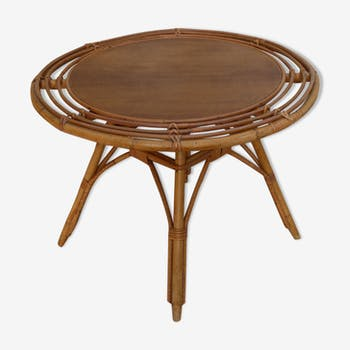 Coffee table round rattan