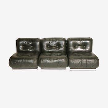 Set of 3 heaters/leather sofa 1970