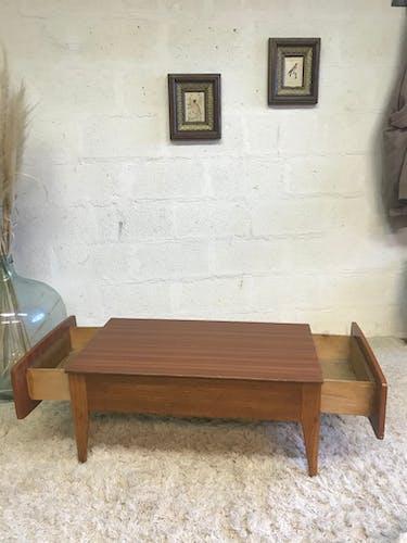 Scandinavian double drawer coffee table
