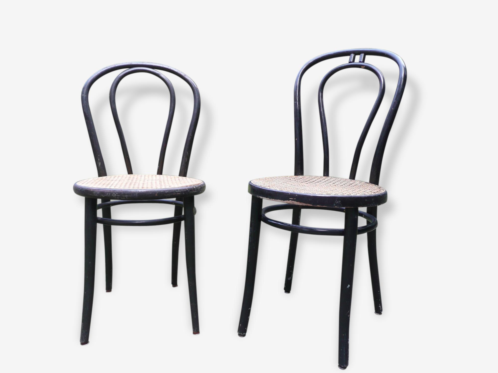 """Lot de 2 chaises """"Bistrot"""" en bois peint et rotin"""