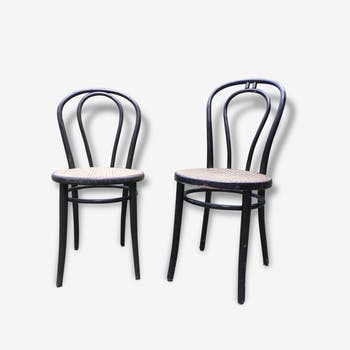 "Set of 2 chairs ""Bistro"" in painted wood and rattan"