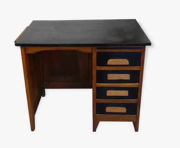 Bureau enfant bois matériau noir vintage 51646