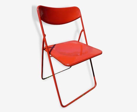 Chaise pliante rouge, vintage fin 80s