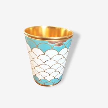 Duo ramekins or golden egg cups, vintage 1950