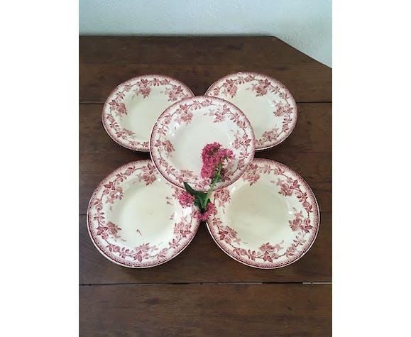 Set of five iron earth soup plates