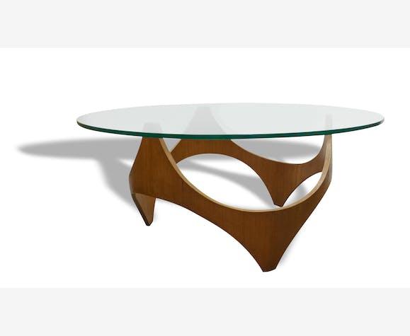 Table en teck avec plateau vitre de forme ronde, 1960