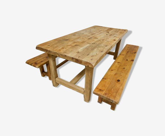 Mountain farm table and two benches