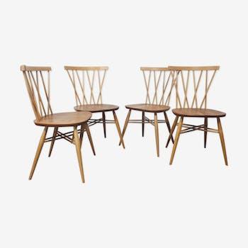 Lot de 4 chaises Ercol, années 1960