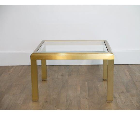Table basse ou d'appoint en laiton et verre 1970