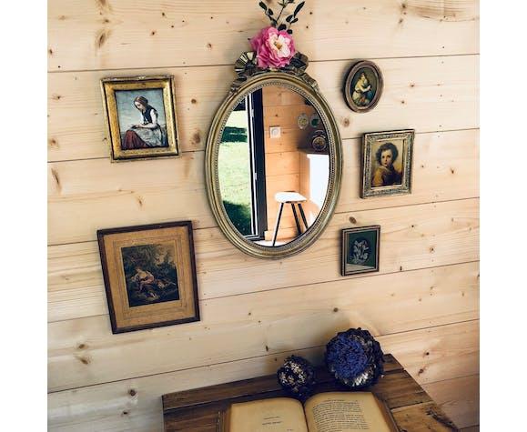 Miroir baroque dorée noeud