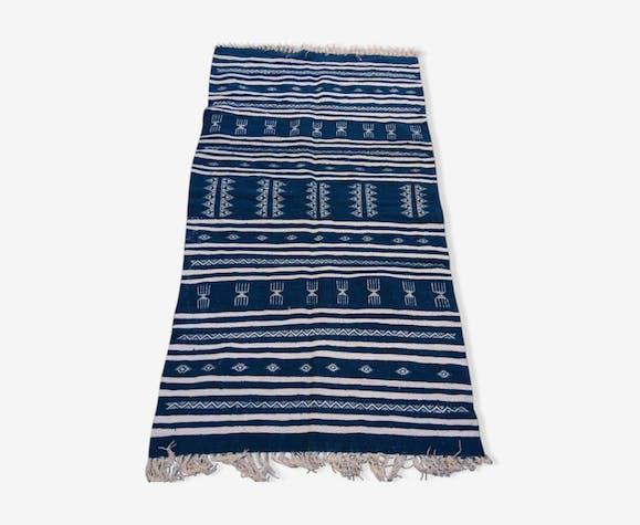 Tapis kilim bleu berbère fait à la main 210x115cm