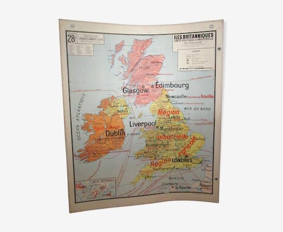 Map British Islands United Kingdom vidal lablache 60s