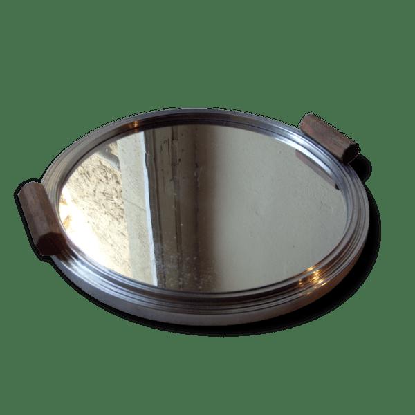 Plateau miroir rond art d co m tal gris bon tat for Miroir rond original
