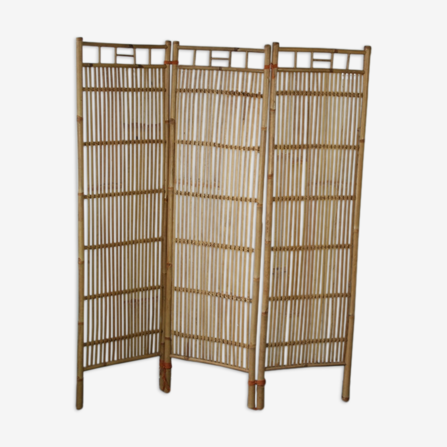Screen 3 panels bamboo, rattan and wicker 1970 vintage