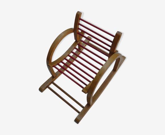 fauteuil bascule enfant en bois vintage 50s bois. Black Bedroom Furniture Sets. Home Design Ideas