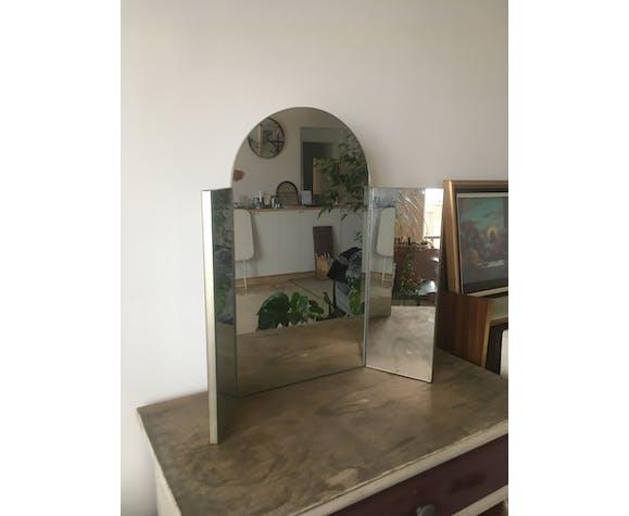 Miroir triptyque miroir de barbier vintage années 70 70x55cm