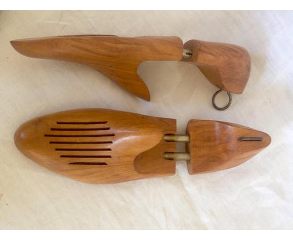 Two pairs of vintage wooden shoe