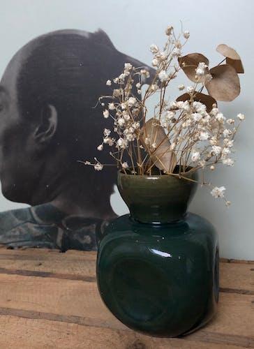 Vase céramisue vert bleu