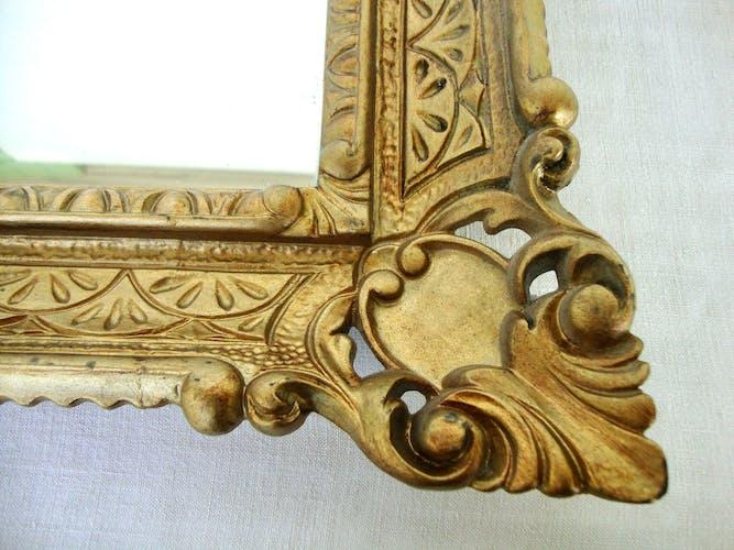 Miroir florentin cadre bois sculpté 56x46cm