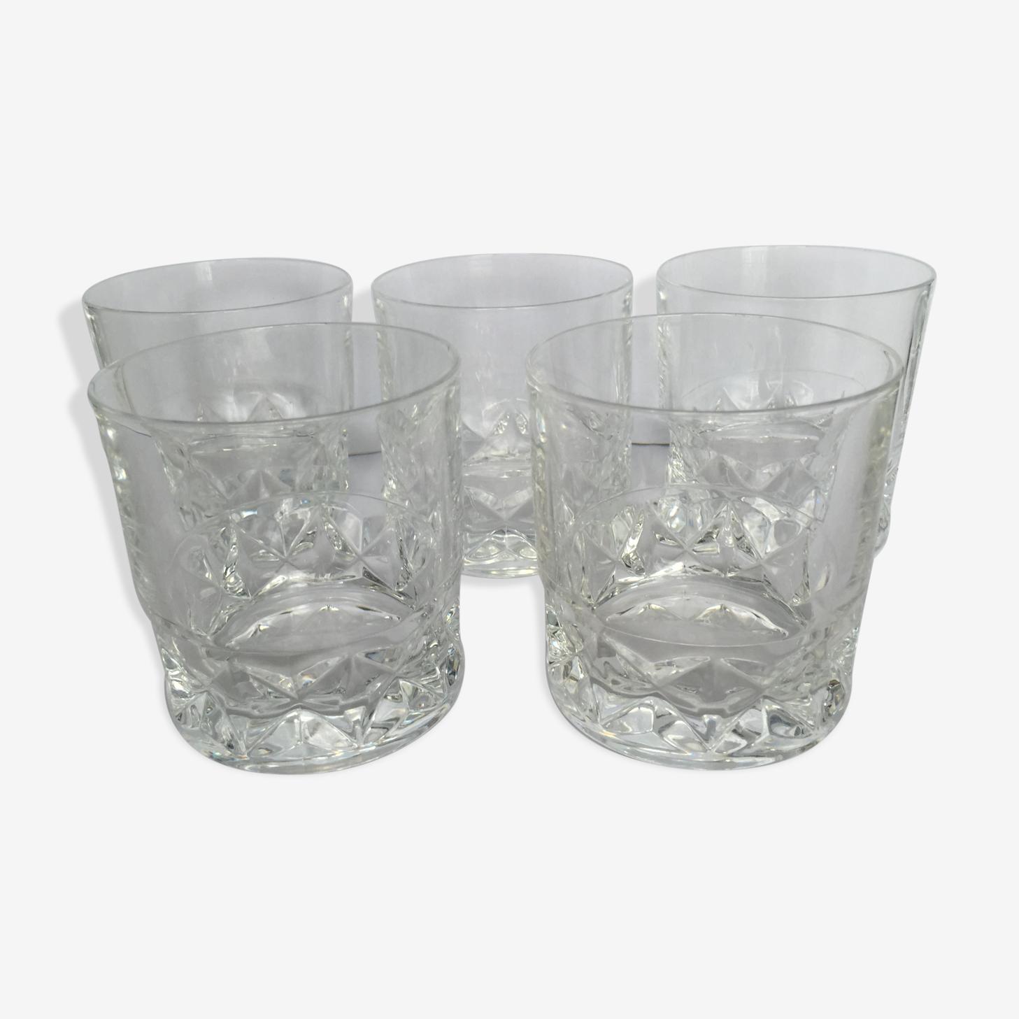 5 verres à whisky en cristal