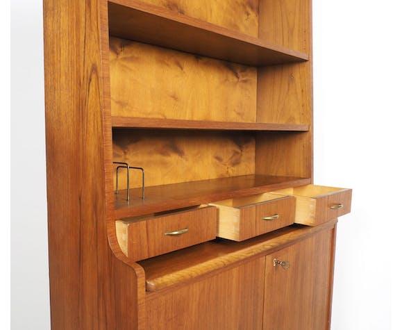 Danish design teak pull out bookcase, 1960's