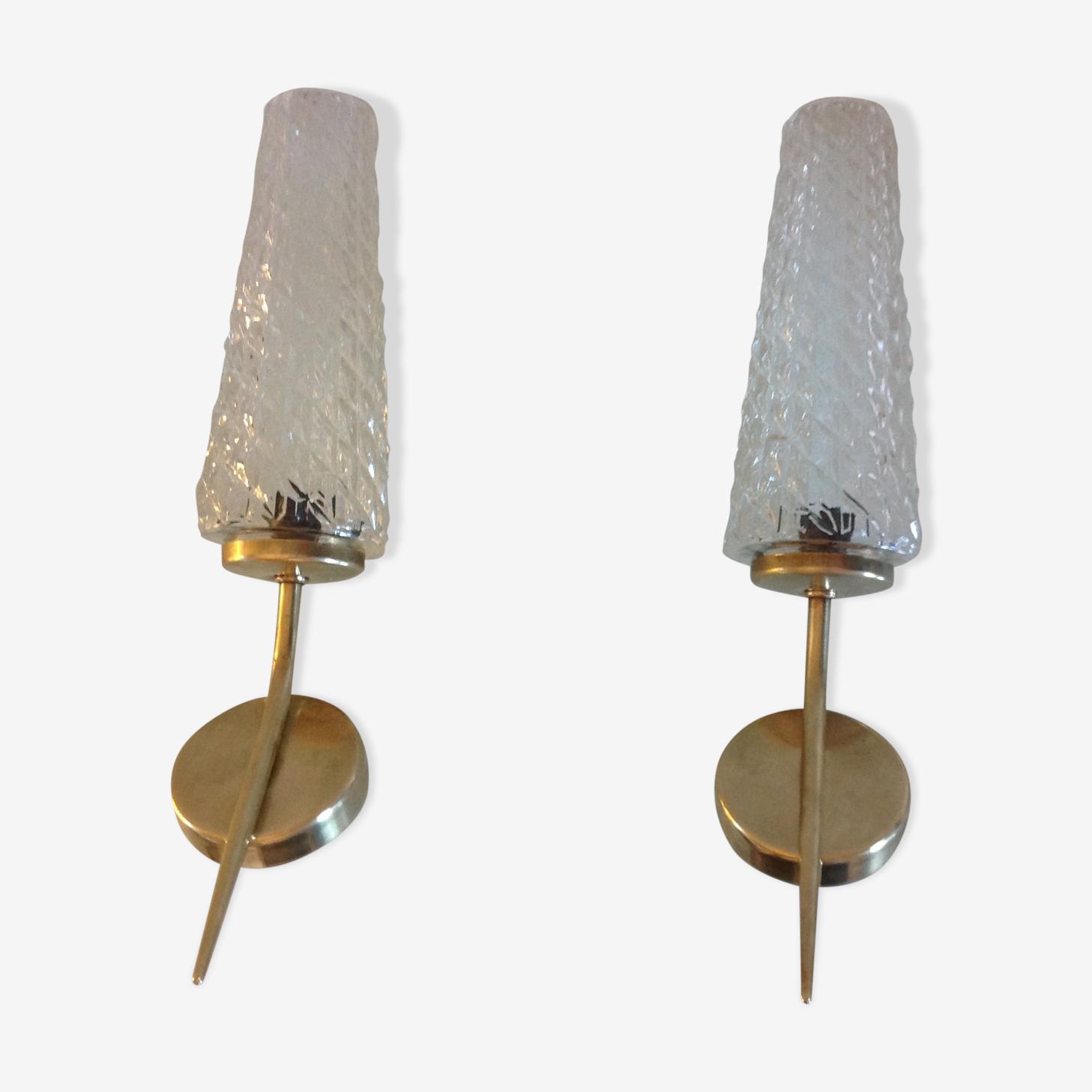 Paire d'appliques en laiton et verres coniques vintage années 60