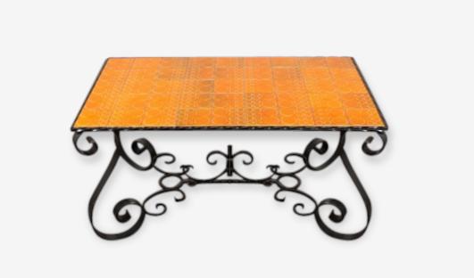 Table Basse Fer Forgé / Céramique Vintage Rétro 1960 1970