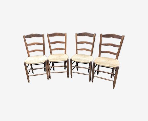 Quatre chaises paillées