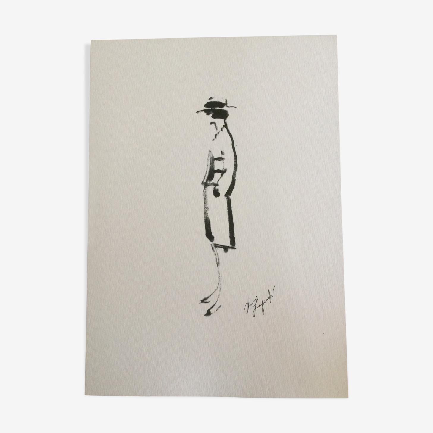 Illustration tirage croquis de mode vintage Chanel