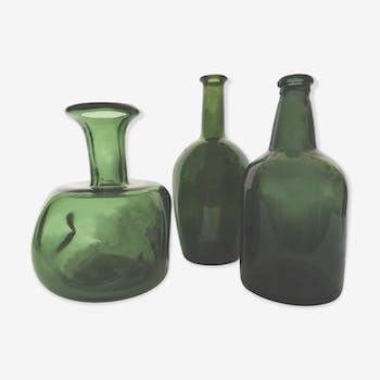 Trio de soliflores en verre vert