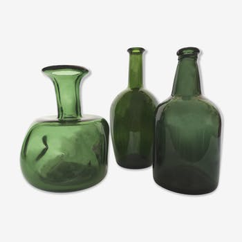Trio of green glass soliflores