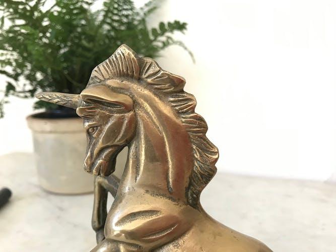 Vintage unicorn figure in brass