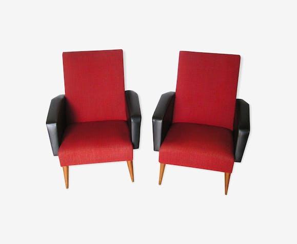 Fauteuils rouge et noir en skaï et tissu années 60