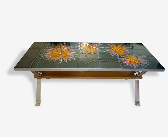 table basse vintage ann es 70 plateau m tal chrom et c ramique dessous bois et pietement. Black Bedroom Furniture Sets. Home Design Ideas